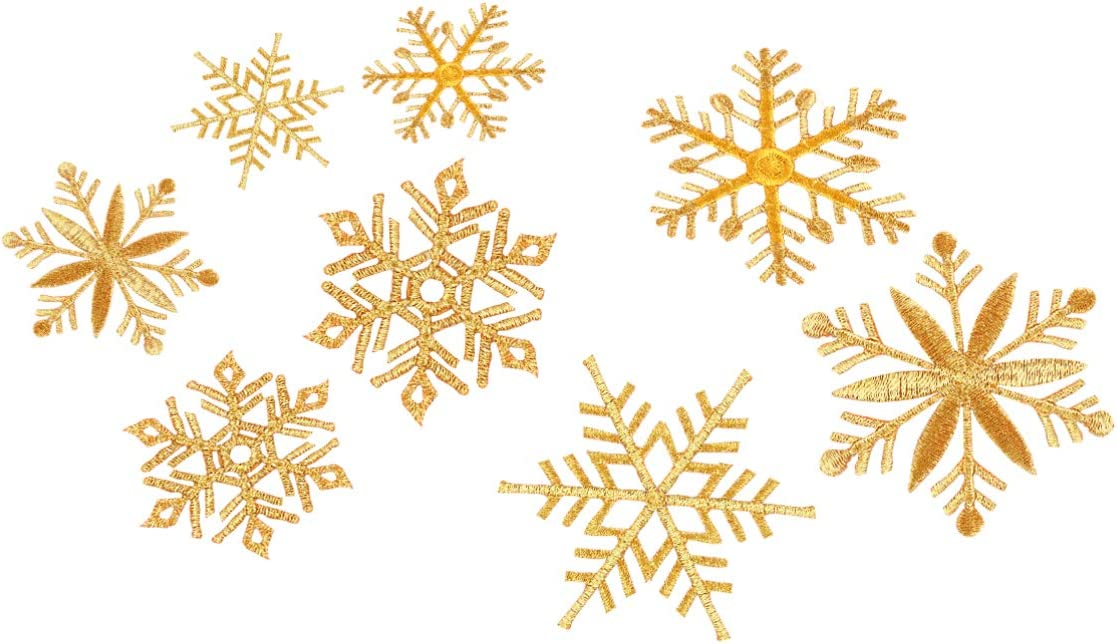 HEALLILY 8pcs Christmas Embroidered Patches Gold Snowflake Patches Christmas Embroidered Appliques Sew On Iron on Badges Christmas Clothes Stickers for Backpacks Jeans