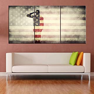 Native American Flag Picture Soldier Saluting Silhouette Paintings 3 Piece Canvas Wall Art for Living Room Stars Stripes Artwork Home Decor Giclee Framed Ready to Hang Posters and Prints(60''Wx 28''H)