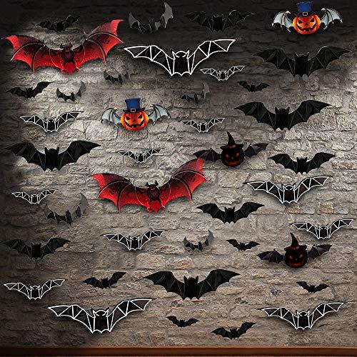 Eyscoco Halloween Deko Set 40 Stück 3D Fledermäuse Dekoration Wandaufkleber,PVC Fledermäuse Deko Flügel Faltbar,Halloween Partyzubehör für Haus Fenster Wanddekoration