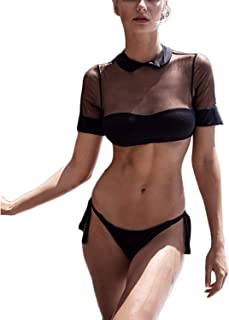Women's Short Sleeve Bikini Set Mesh Patchwork Crop Top Two Piece Swimsuit High Cut Side Tie Thong Bottom Bathing Suit