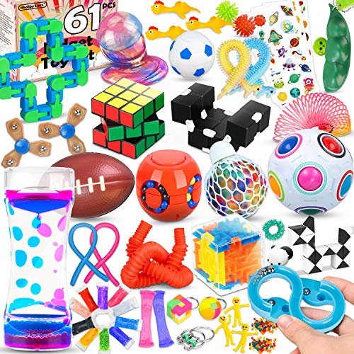 61 Pcs Sensory Fidget Toys Pack,Stress & Anxiety Relief Tools Bundle Figetget Toys Set for Kids...