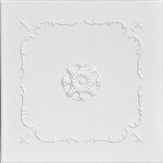 A La Maison Ceilings R43 Bourbon Street Foam Glue-up Ceiling Tile (21.6 sq. ft./Case), Pack of 8, Plain White
