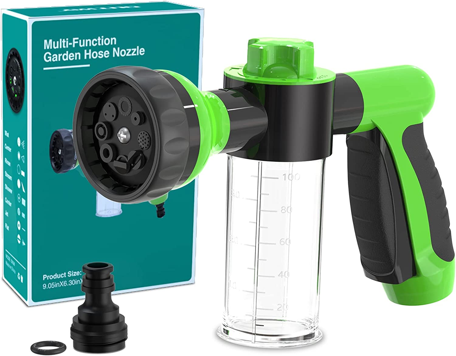Garden Hose Nozzle, High Pressure Spray Gun Nozzle, 8 Spray Patterns for Watering Plants, Lawn, Patio, Cleaning, Showering Pet with 3.5oz/100cc Soap Dispenser Bottle