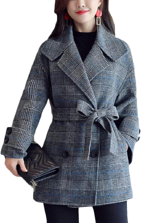 TymhgtCA Women Fashion Plaid Short Wool Blend Trench Coat Jacket Outwear with Belt