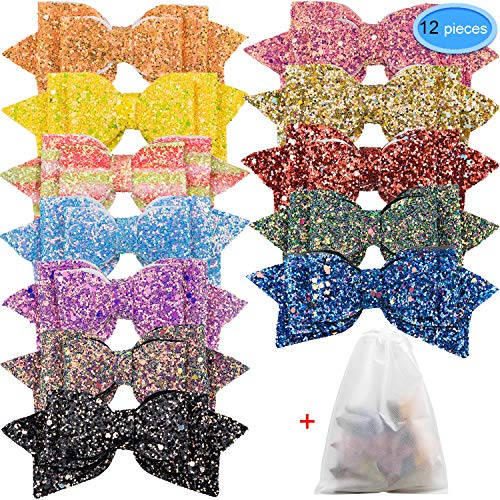 Glitter Hair Bows 12 Pieces, EAONE 5 Inch Sparkle Hair Bow Clips Sequins Boutique Hair Accessories Clip for Girls Toddlers Teens Women, 12 Colors