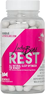 Premium Sleep Aid Promotes Women's Health - LadyBoss REST - Herbal Formula For Women Powered By Science - Reduce Feelings Of Stress - Nature's Best Non Habit Forming Deep Sleep Optimizer - 30 Servings