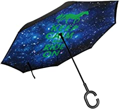 Keep Calm Love Horses Ride Car Reverse Inverted Umbrella With C-Shaped Handle UV Protection Windproof Umbrella For Car Rain Outdoor Use