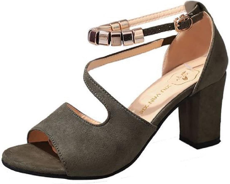 Btrada Womens Fashion Suede Crude Heel Sandals Fish Mouth Casual High Heel Pump Summer Dress shoes