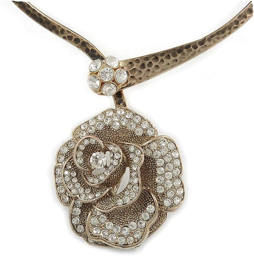 Avalaya Large Dimensional Swarovski Crystal 'Rose' Pendant Collar Necklace in Burn Gold Finish - 38cm Length