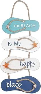Playa náutica Flip Flop Decoración Flip Flop Adorno de pared Colgante Zapatillas de madera Decoración, Decoración de pared Adorno colgante de puerta Tema de playa Decoración del hogar, Blanco, Azul