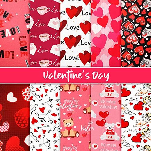 10 Piezas Telas de Algodón de San Valentín Tela Estampada de Corazón Paquetes de Patchwork Acolchado Cuadrado con Patrón de Corazón Flecha Oso para DIY Coser Bolsa, 19,68 x 19,68 Pulgadas