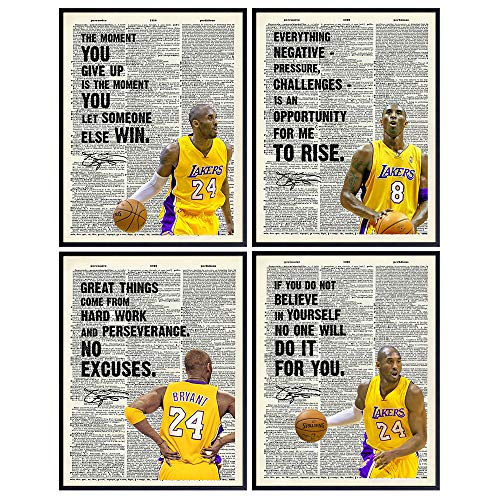 Kobe Bryant Dictionary Poster Set, Motivational Wall Art, Inspirational Quotes Wall Decor - 8x10 UNFRAMED Sayings Wall Decor - Gift for Sports, LA Lakers, Basketball Fans - Home, Room or Office Decor