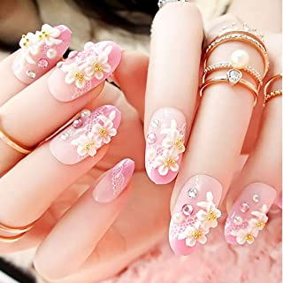 Drecode False Nails Bling Rhinestone Pearl Flower Lace Full Cover Fake Nails Simple Party Acrylic Nails for Women and Girls