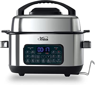 Artestia Electric Cooker with Air Fryer, 14-in-1 Indoor Grill, Air Fryer, Slow Cooker, Roast, Bake,6.5-Quart Air Fryer Oven with Led Digital Touchscreen,air fryer Grill for Broil, Fries, Beef, Steam