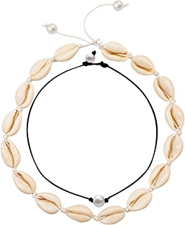 MUYOU Cowrie Shell Choker Necklace for Women Boho Shell Pendant Necklace Corded Seashell Necklace Cowry Collar Necklace Handmade Shell Beach Jewelry for Summer