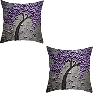 ENLACHIC Set of 2 Throw Pillow Covers Vintage Decorative Painting Tree Pillowcase Cushion Case for Room Bedroom Room Sofa Chair Car,Purple Flower Tree,18 x 18