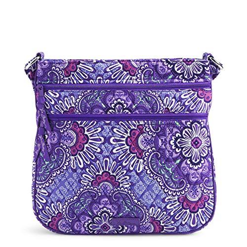 Vera Bradley Signature Cotton Triple Zip Hipster Crossbody Purse, Lilac Tapestry