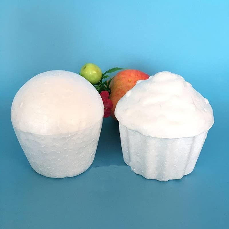WellieSTR 20 Piece Fondant Cupcake Model White Fake Cake Foam Cake Model Cake Foam Polystyrene Styrofoam Party DIY New Decorations Cake Dummies Foam Mold Child DIY Mold 2 Style