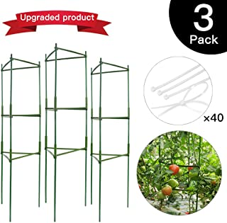 IPSXP Vegetable Trellis, Garden Plant Support Stakes for Climbing Plants, Vegetables, Flowers, Fruits, Vine, 3 Garden Trellis with 40 Adjustable Cable Tie
