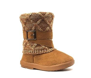 REDVOLUTION Kids Boots Toddler Girls Cute 2 Buttons Suede Knitting Shoe | 285