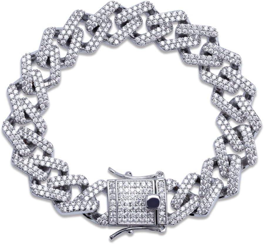 MXMYFF Hip low-pricing Hop Men's Cuban Max 52% OFF Chain Zircon 3A Bracelet Personality