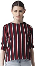 Style Quotient Women Maroon & Navy Blue Striped Top