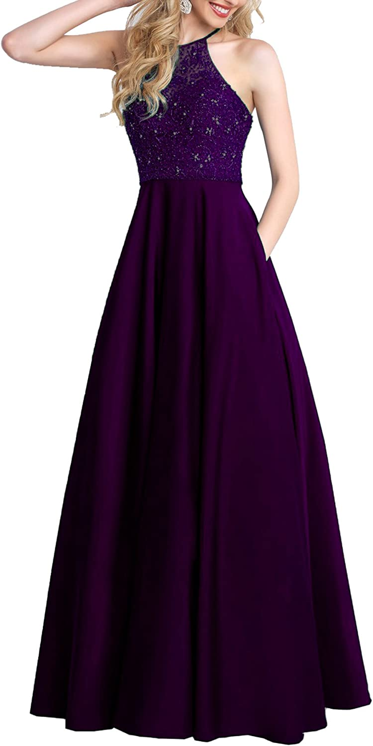 Beauty Bridal Womens Halter Prom Dress Beaded Formal Evening Party Gowns Long With