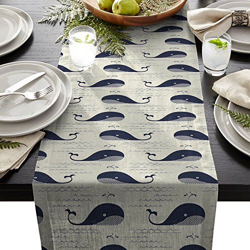 Edwiinsa Cute Whale Table Runner For Dining Table Kitchen Wedding Party Decoration Table Top Home Decor 14 x 72 Inch