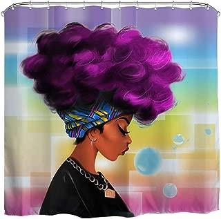QiyI African Purple Hair Girl Shower Curtain American Art Afro Black Women Watercolor Design Bathroom Accessories Waterproof & Machine Washable with 12 Hooks 72