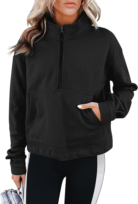 PRETTODAY Women's Casual Half Zip Up Sweatshirts Long Sleeve Solid Lapel Sweatshirts Loose Pullover Tops with Pocket