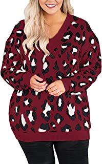 Imily Bela Womens Plus-Size Leopard Pullover Sweater V Neck Oversized Knit Outwears