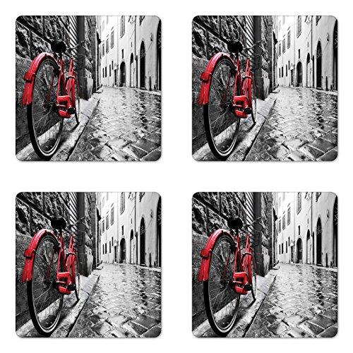Lunarable Bicycle Coaster Set of 4, Classic Bike on Cobblestone Street in Italian Town Leisure Photo, Square Hardboard Gloss Coasters, Standard Size, Black White