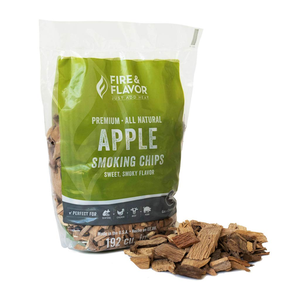 Fire & Flavor FFW103 Premium All Natural Smoking Wood Chips, 2 Pounds, Apple, green