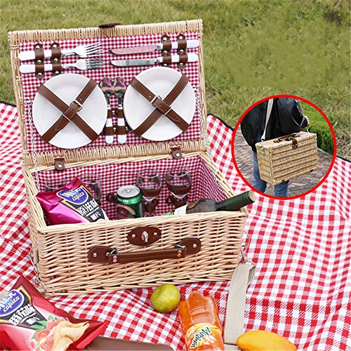 Angela 4 Picknickkorb für Person, Premium-Set mit Tellern und Weingläsern, natürliche Korbgeflecht, isoliert, Besteck Besteck, perfekte Ausrüstung