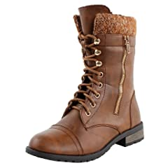 Forever Link Womens Mango-31 Round Toe Military Lace Up Knit . 79d02ed15
