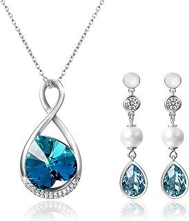 Aroncent Sets de Joya Pendientes Swarovski Elemento con Collar 925 Plata de Ley Esterlina Perla Circonita Brillante Joyerí...