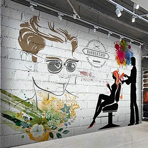 Photo Wallpaper 3D Brick Wall Silhouette Barber Shop Beauty Salon Background Wall Painting Retro Graffiti Wall Papers 200(L) x140(H) cm