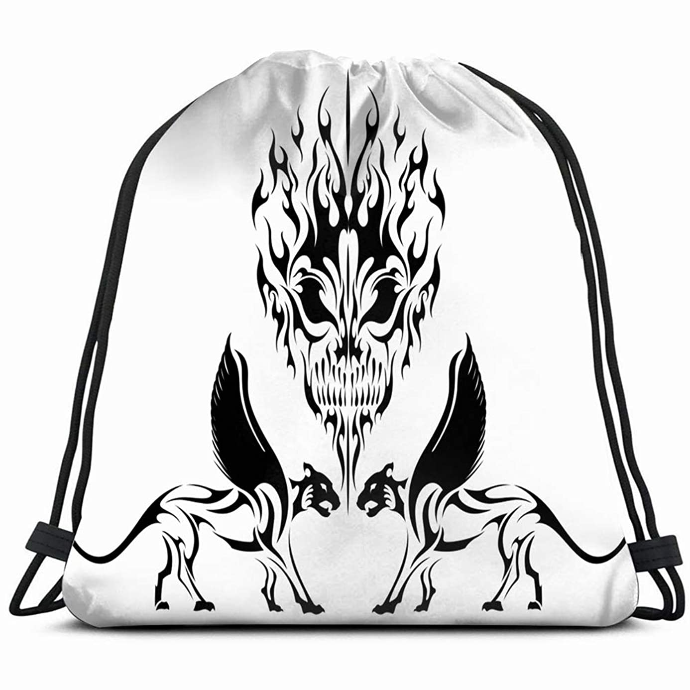 fire head rock big cats wings signs symbols Drawstring Backpack Gym Sack Lightweight Bag Water Resistant Gym Backpack for Women&Men for Sports,Travelling,Hiking,Camping,Shopping Yoga
