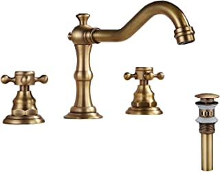 GGStudy Commercial 8-16 inch Two Handles 3 Holes Widespread Bathroom Sink Faucet Antique Brass Basin Mixer Tap Faucet