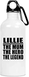 Lillie The Mum The Hero The Legend - 20oz Water Bottle Insulated Tumbler Stainless Steel - for Mother Mom from Daughter So...