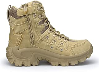 Jinjin Men Combat Shoes - Sport Army Tactical Boots Desert Outdoor Hiking Leather Boots