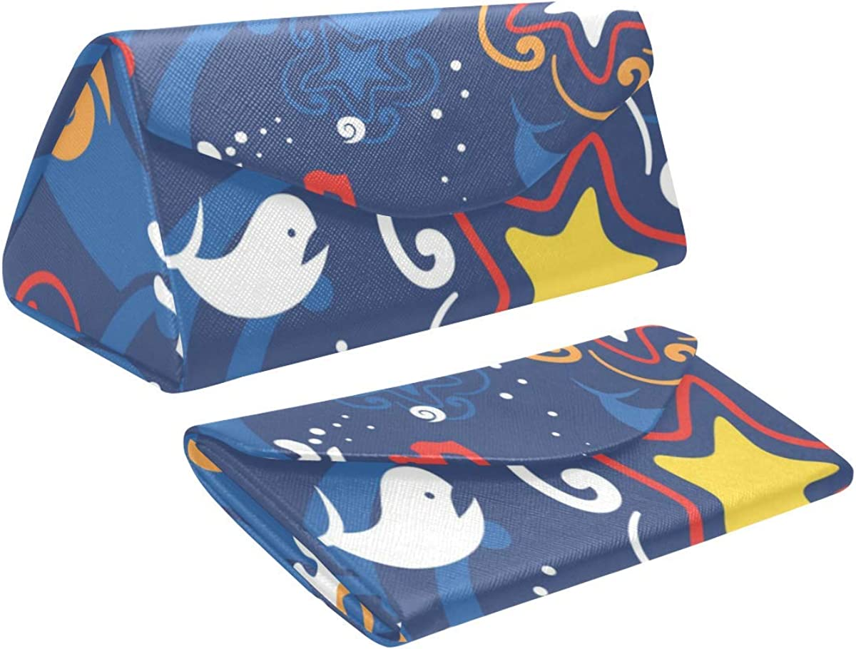 Glasses Case Sea Animals Star Whale Eyeglass Case Leather Magnetic Folding Hard Case Sunglasses Eyewear Protective Case