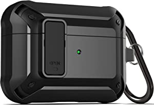 Upgraded [Secure Lock] Armor Airpod Pro Case, Fibuntun Shockproof AirPods Pro Cover Cool iPod Pro Case Designed for Apple Air Pod Wireless Pro Cases for Men Women - Black