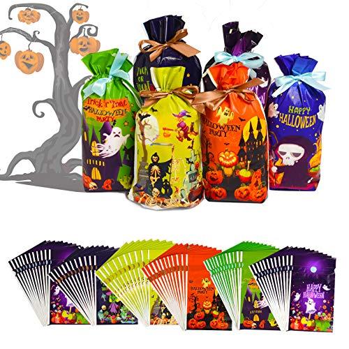 Joyjoz 72 Bolsas de Dulces de Halloween, Bolsas de Truco o Trato de Halloween, Bolsas, Suministros de Fiesta de Halloween, Decoraciones de Halloween (6 diseños)
