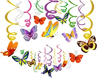 CC HOME Summer Butterfly Decoration,Butterfly Hanging Swirl Decorations for Home,Classroom ,Girl,Boys Baby Shower,Birthday Party,Day of Dead Party , Altar de Ofrendas Dia de Muertos Decorations,Thanksgiving Birthday Party,Mexican Fiesta ,Garden Themed Party ,Tea Party Decorations ,Butterfly Decoration Supplies 30PC