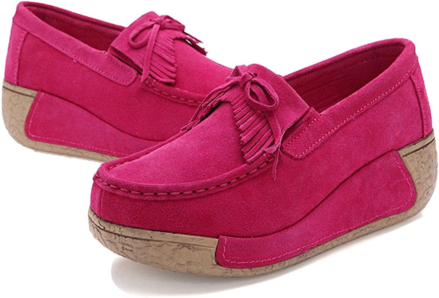 XL1329taohong36 EnllerviiD Women Slip On Wedges Sneakers Fashion Tassel Platform Suede Loafers shoes pink 5.5 B(M) US