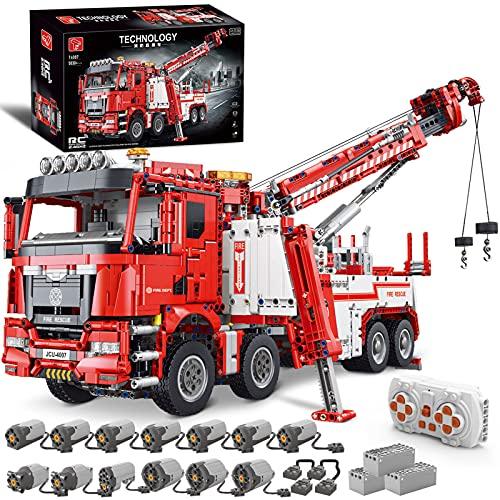 WANCHENG Technik Große LKW Kran Feuerwehrauto bausteine, 5030 Teile Technic 2.4G RC Fernbedienung Truck Modell, mit 13 Motoren, Kompatibel mit Lego