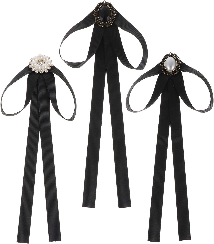 PRETYZOOM 3pcs Japanese Ladies Party Long Pre Bow Ties with Pearl Black Neckties Bowties Female Ribbon for Women Ties