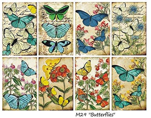 Paper Moon - Scrapbooking carta di lusso 10.5cm x 7cm x 8 fogli - Farfalle