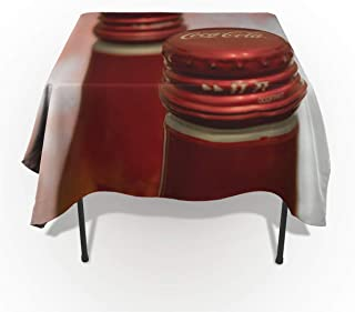 Our Wings Cotton Linen Tablecloth,Kitchen Table Covers,Dinning Square Tablecloth for Party Wedding Decoration,Coca Cola (54x87in)